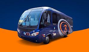 Micro Onibus azul FUNDO AZUL BASE LARANJ
