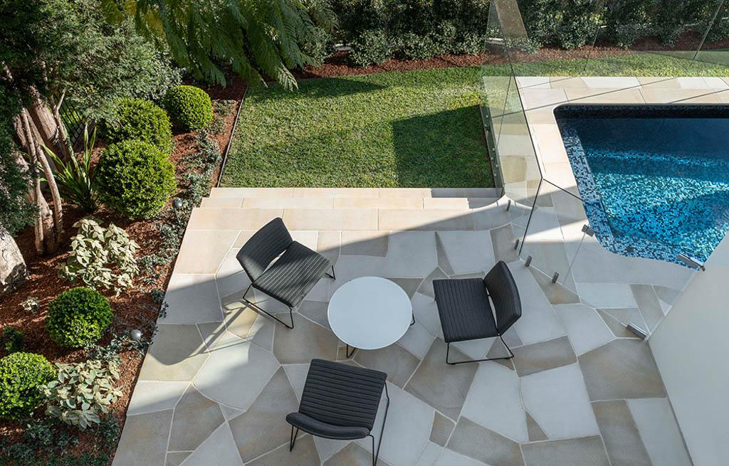 Sandstone crazy paved terrace