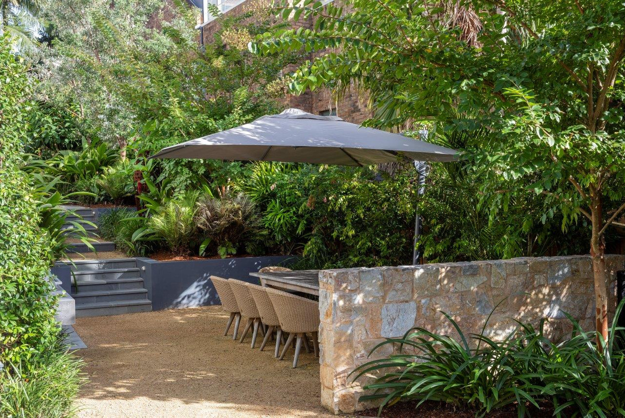Umbrella covering dining table