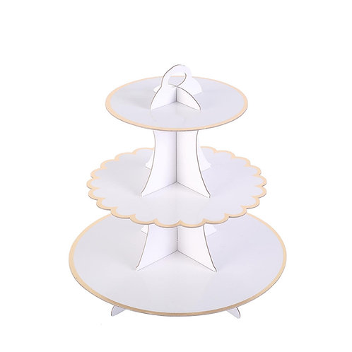3-Tier White & Gold Cupcake Stand
