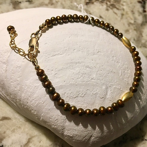 Bronze seed pearl bracelet