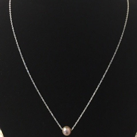 Pink Freshwater Pearl and Sterling Silver Necklace