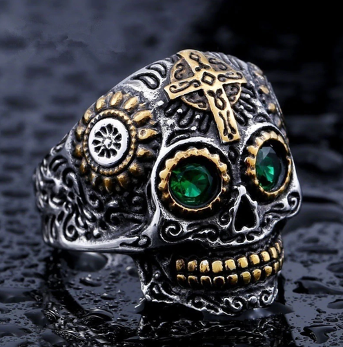 Cool Men's Gothic Carving Ring Green Eye High Quality Cross Skull Ring  Jewelry F