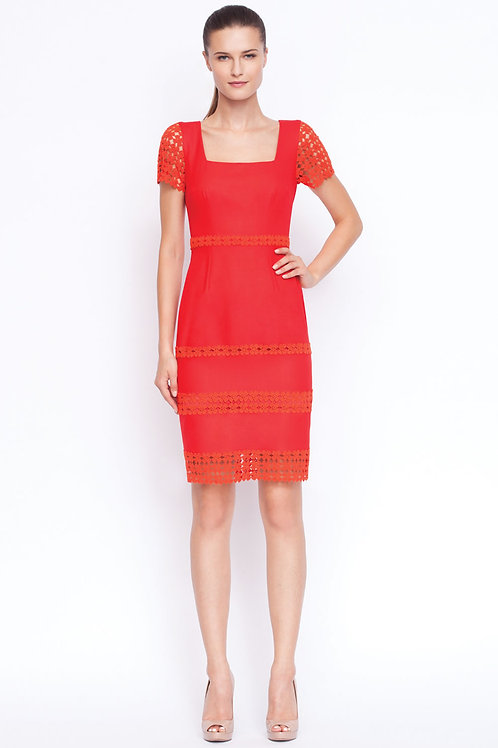 Red fitted dress with lace sleeves and bottom