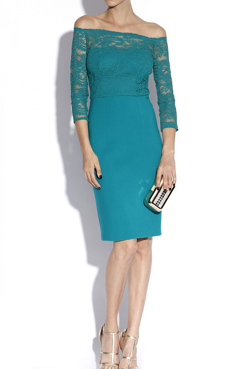 Green cocktail fitted lace dress