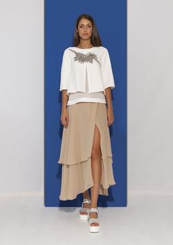 100% Silk long Beige Skirt
