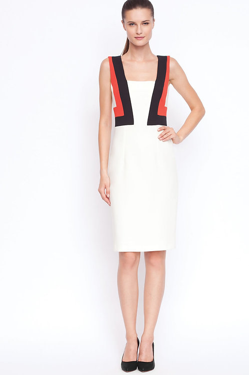 White, red and black fitted dress