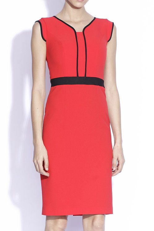 Red fitted dress with black trim