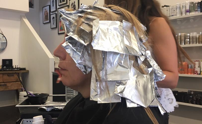 maggie at hair dresser