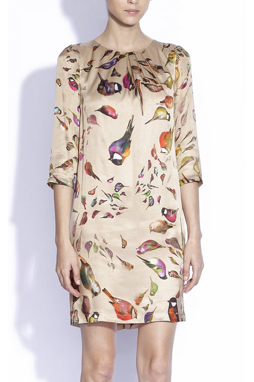 100% silk dress with prints
