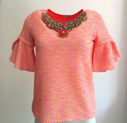 Orange Shirt with Corals