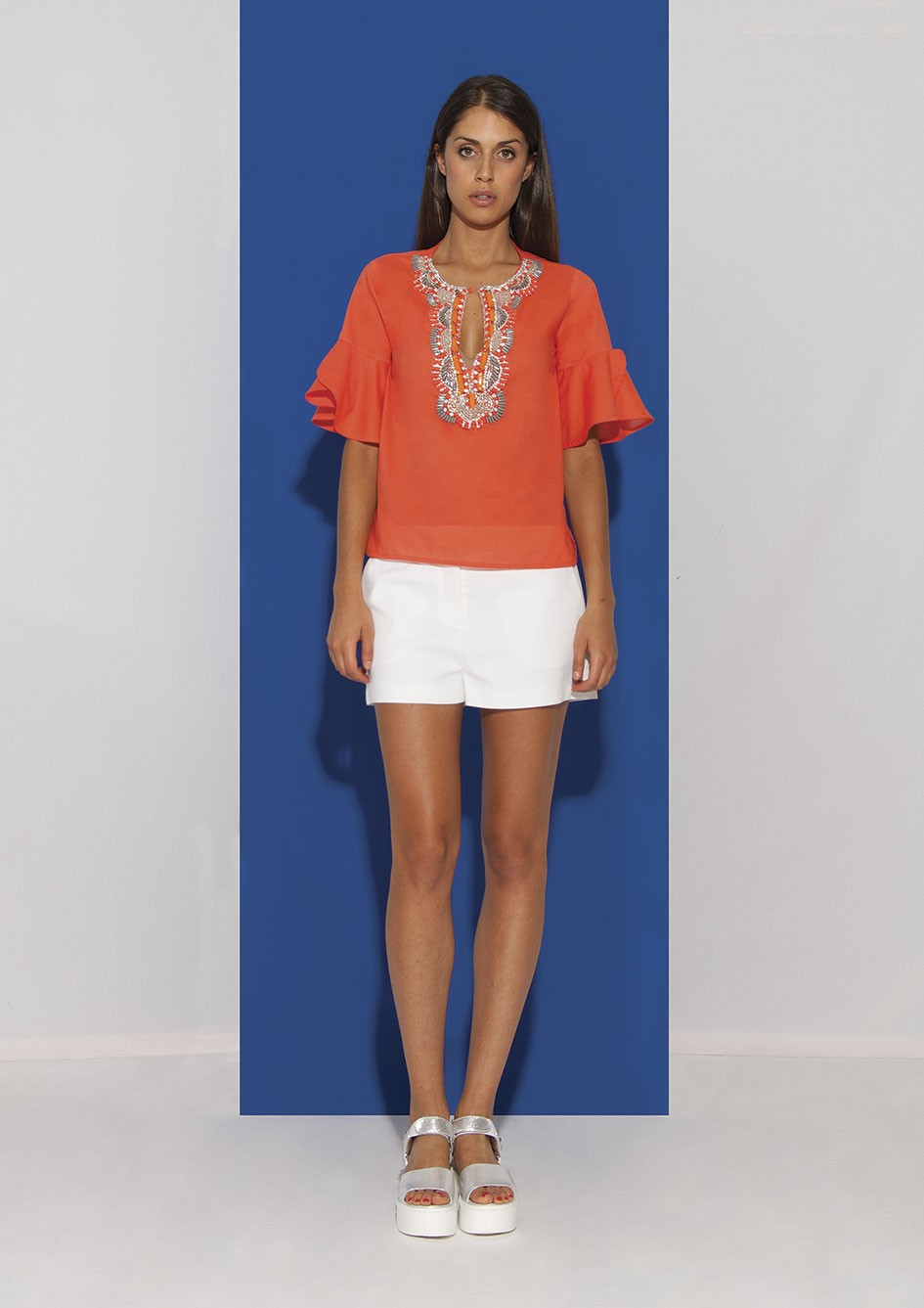 Orange Cotton Shirt with Corals