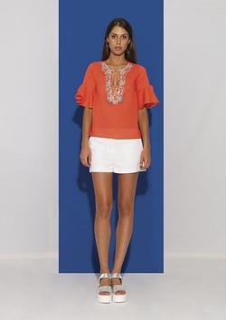 Orange Cotton Shirt with Corals