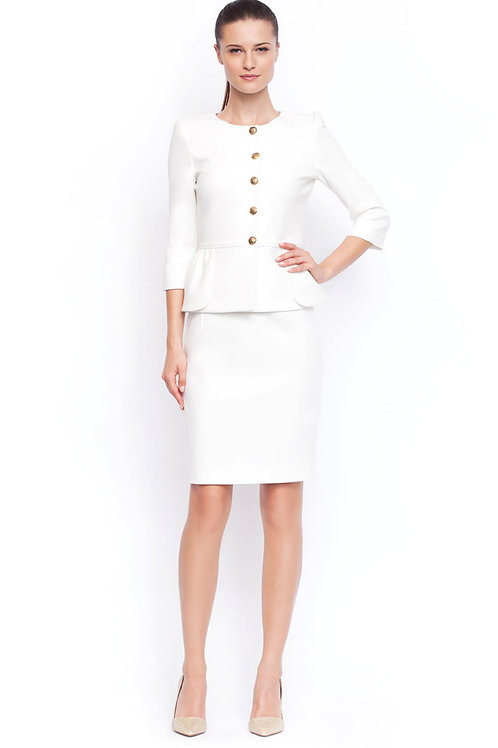 White jacket with gold buttons