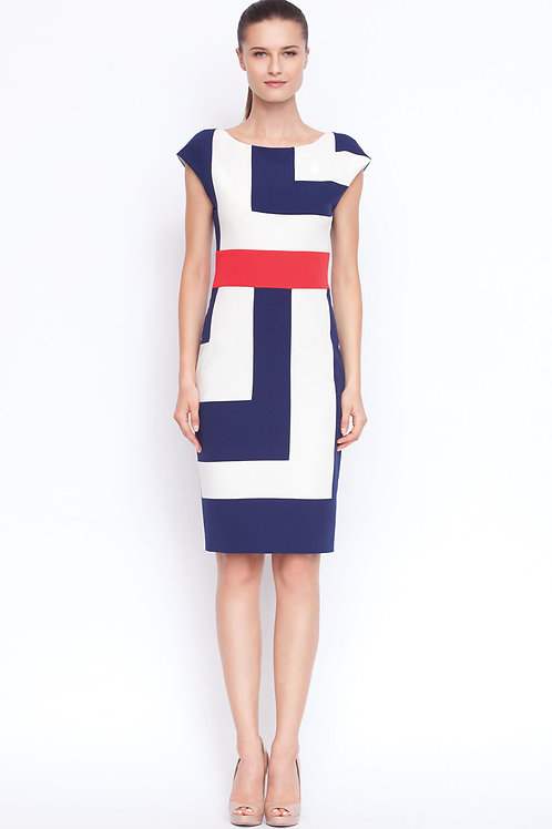 Blu, red, white fitted dress