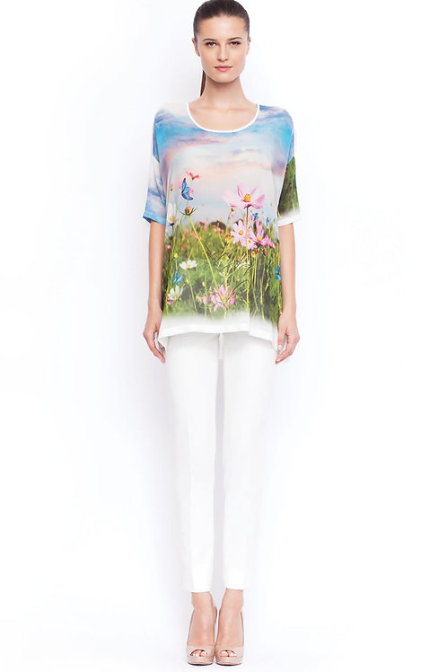 White shirt with coloured prints