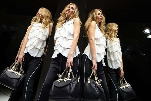 White light shirt with black trims