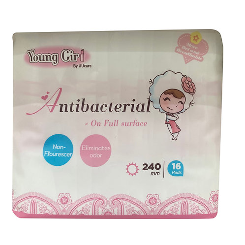 UU Care Young Girl Antibacterial Pads - 240mm 16 per pack
