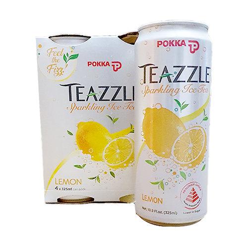 Pokka Teazzle Sparkling Ice Tea Can Drink - Lemon 4 x 325ml
