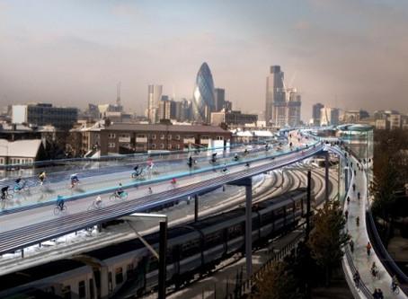 Empresa cria projeto que prevê ciclovias por cima das linhas de trem em Londres