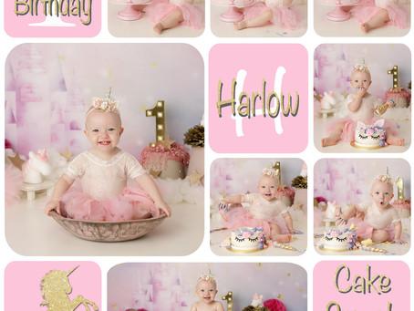 Harlow's 1st birthday - Unicorn Cake Smash : Gold Coast, Ormeau, Brisbane Cake Smash Photography
