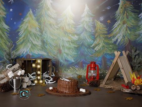 Hudson's Woodlands/Camping theme 1st birthday cake smash : Brisbane & Gold Coast cake smash