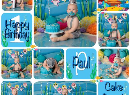 Paul's Baby Shark theme 1st birthday cake smash : Gold Coast, Ormeau, Brisbane Cake Smash Photog