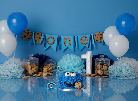 Louis's 1st Birthday Cake Smash - Cookie Monster Style : Gold Coast, Ormeau, Brisbane Cake Smash