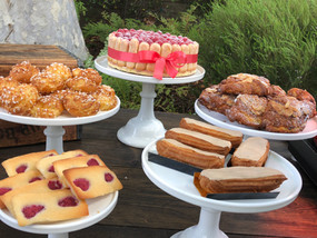 Rapberry Financiers - Chouquettes - Raspberry Charlotte Cake - Mini Almond Croissants - Coffee Eclairs