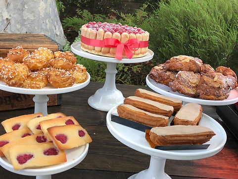 Rapberry Financiers - Chouquettes - Raspberry Charlotte Cake - Mini Almond Croissants - Coffee Eclairs