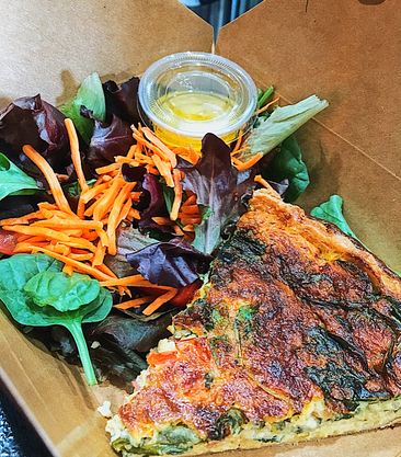 Quiche with Side salade and Mustard Dressing