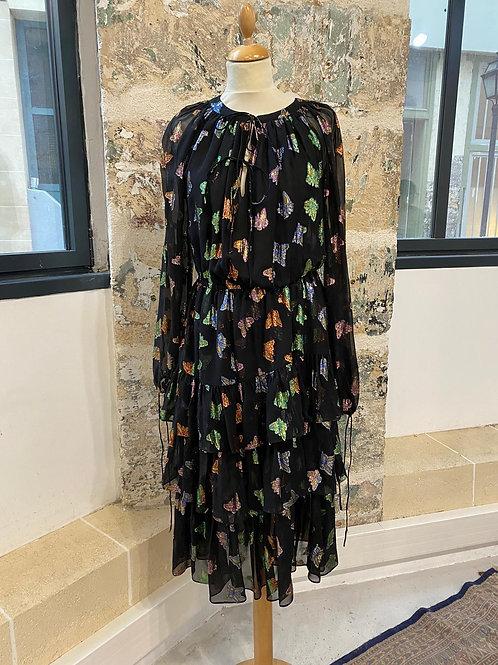 THE KOOPLES - Robe noire brodée papillons lurex
