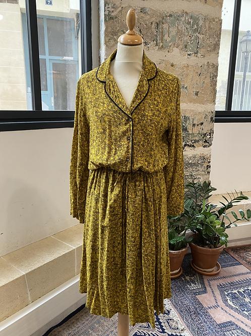 SUZIE WINKLE - Robe moutarde imprimé feuilles noires - T.36