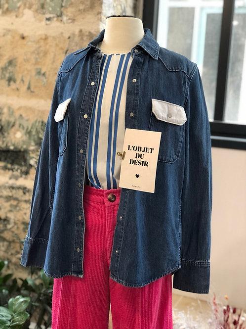 CALVIN KLEIN - Chemise en jean rabat blanc - T.S