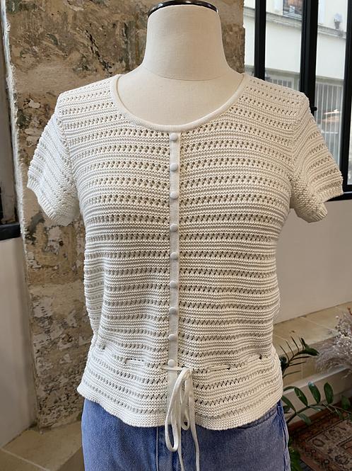 WARE SHRIMPS - Top blanc en maille crochet - T.36