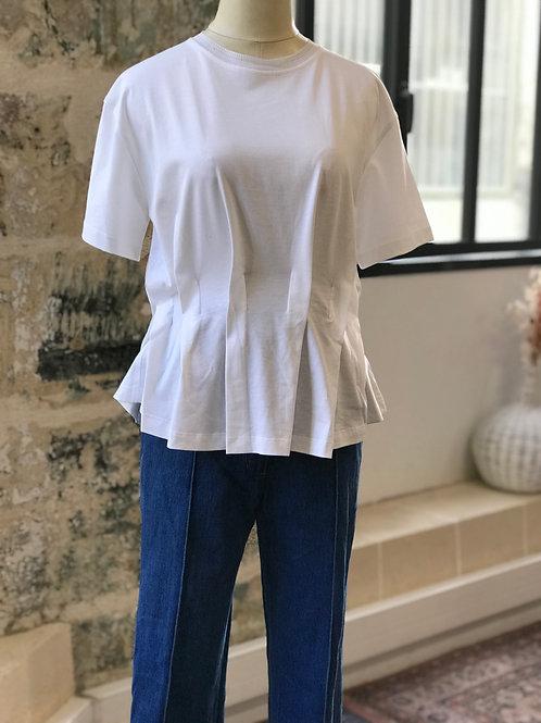 BA&SH - Teeshirt blanc plissé taille - T.1