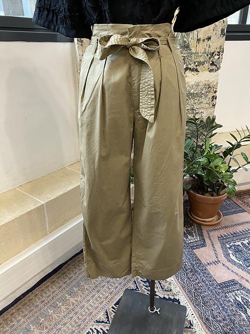 ZARA - Pantalon kaki clair ceinture taille - T.XS