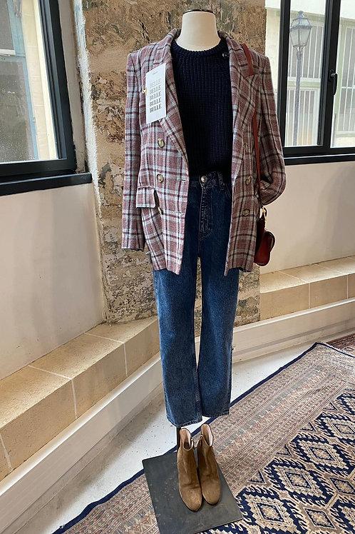 ISABEL MARANT ETOILE - Veste blazer à carreaux bleu et bordeaux - T40