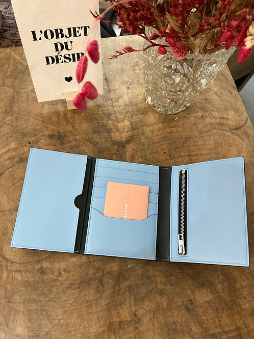 ACNE STUDIOS - Portefeuille bleu ciel en cuir