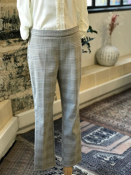 ZARA - Pantalon à carreaux beige/bleu ciel - T.M