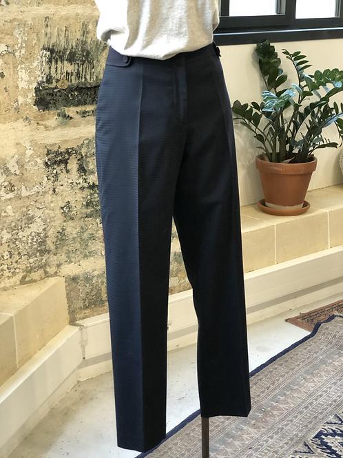 CLAUDIE PIERLOT - Pantalon bleu marine en laine à pinces - T40