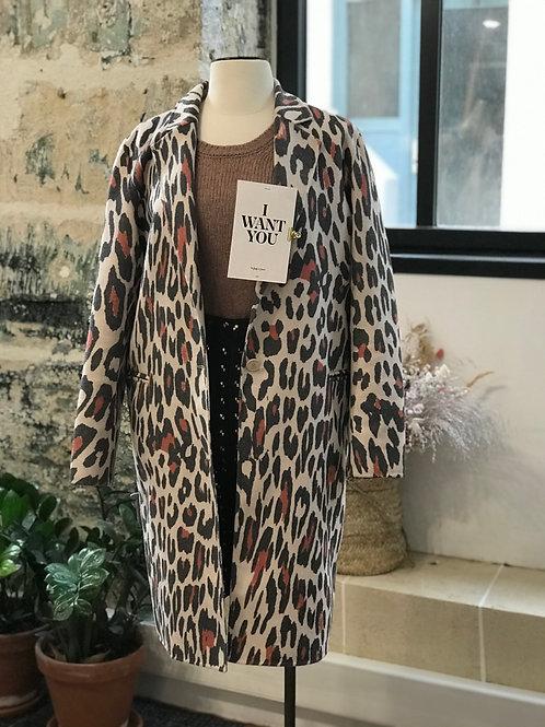 SANDRO PARIS - Manteau mi-long léopard en laine - T.1