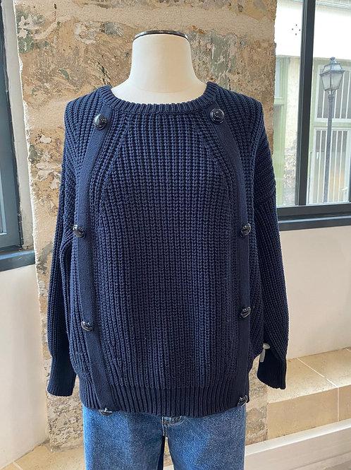 SESSUN - Pull bleu marine en coton - TL