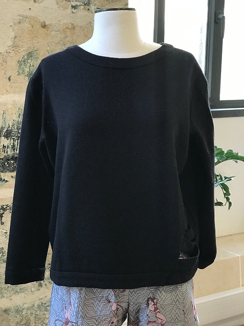 BA&SH - Sweat noir en laine noeuds côtés - T.0
