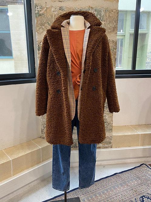 ZARA - Manteau marron en moumoute - TL