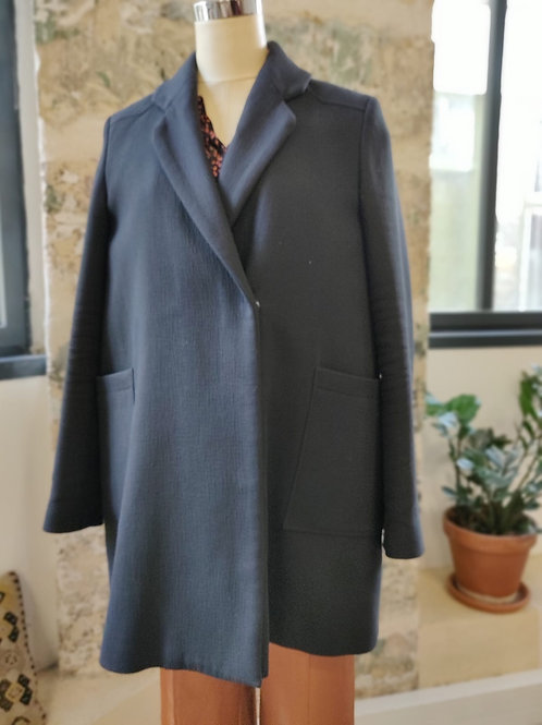 BA&SH - Manteau noir mi long en coton - T3