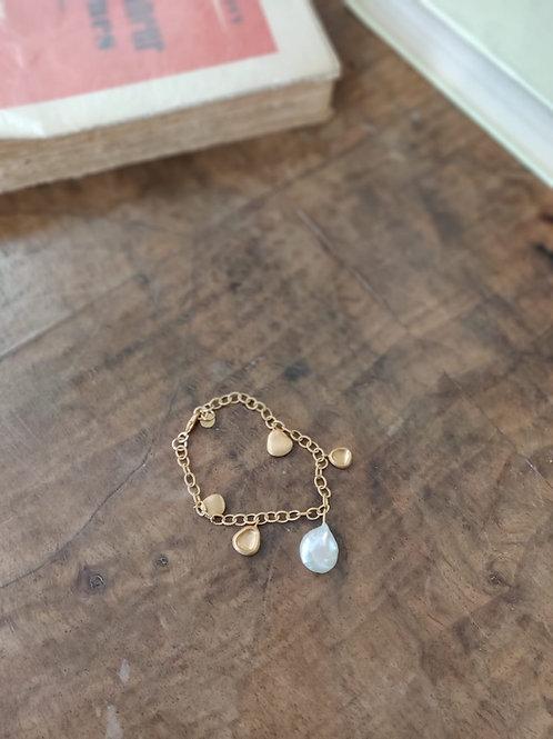 Bracelet plaqué or perle nacre - BONEUR