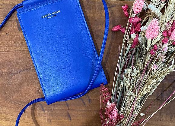 GIORGIO ARMANI - Porte téléphone bleu en cuir