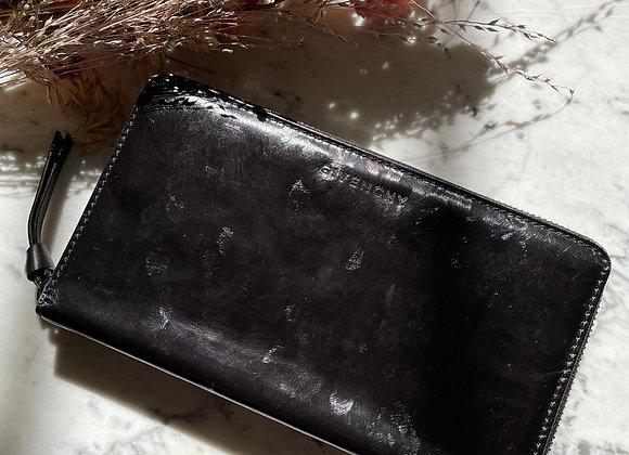 GIVENCHY - Portefeuille noir en cuir lisse brillant