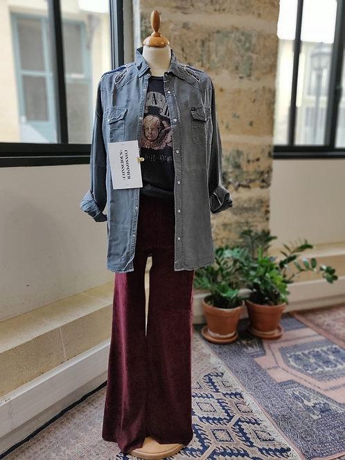 HEARTLESS - Veste en jean grise, patchs épaules - T.M